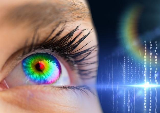 Computer grafische kleurrijke vrouw spanning enkel object