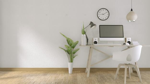 Computer met een leeg scherm en decoratie in kantoorruimte. 3d-weergave