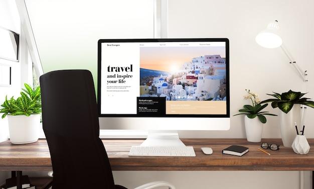 Computer met reiswebsite op lijst het 3d teruggeven