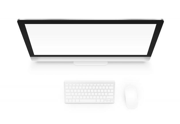 Computer met toetsenbord en muis van hierboven geïsoleerd