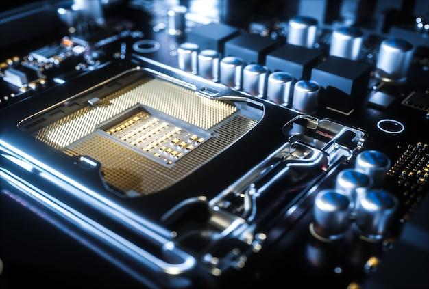 Computer moederbord cpu-aansluiting close-up. 3d-afbeelding