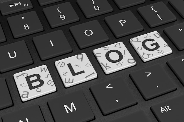 Computer toetsenbord blog concept Premium Foto