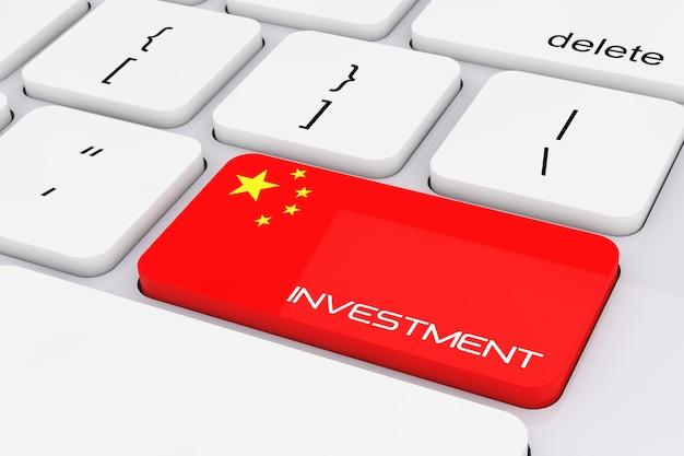 Computer toetsenbordtoets met china vlag en investeringen ondertekenen extreme close-up. 3d-rendering.