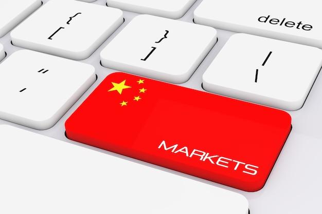 Computer toetsenbordtoets met china vlag en markten ondertekenen extreme close-up. 3d-rendering.