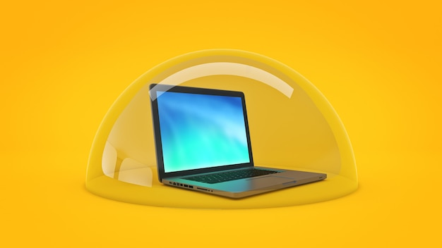 Computer veiligheidsconcept 3d-rendering