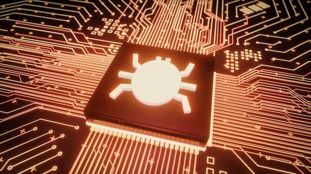 Computerbug of virusmalware gevonden in computermicroprocessoreenheid of cpu, kwetsbaar netwerkbeveiligingssysteem, 3d-rendering laag niveau hardware hacking aanval datalekken concept