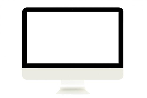Computermonitor met het lege witte die scherm op witte achtergrond wordt geïsoleerd.