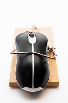 Computermuis in een muizenval