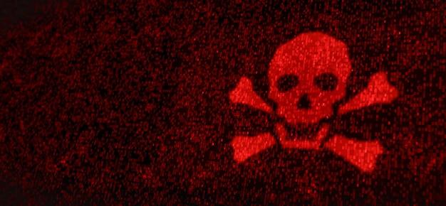 Computerserver werd aangevallen met malware door hacker, waarschuwingsscherm voor beveiliging van netwerkgegevenssysteem, futuristische digitale cyberbeveiligingsbedreigingen 3d-afbeelding
