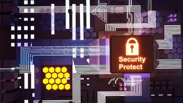 Computersysteem illustratie beveiligingssysteem, cyberdefensiesysteem, 3d-rendering