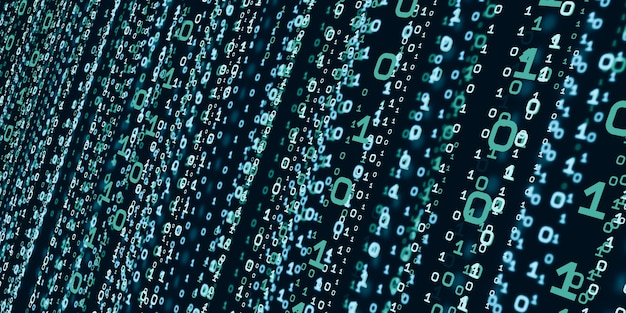 Computersysteem informatie concept abstracte binaire code technologie de achtergrond met binaire gegevens vallen vanaf de bovenkant van de digitale binaire gegevens scherm 3d illustratie
