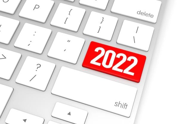 Computertoetsenbord met 2022 enter-knop. 3d-rendering