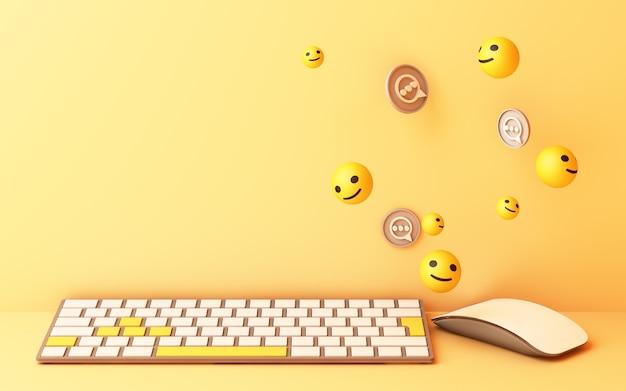 Computertoetsenbord met gele glimlachtoets en glimlachgezicht op gele achtergrond