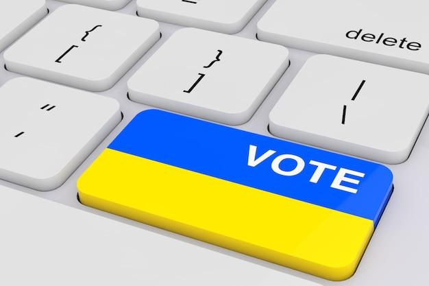 Computertoetsenbord met stemknop als extreme close-up van de vlag van oekraïne. 3d-rendering