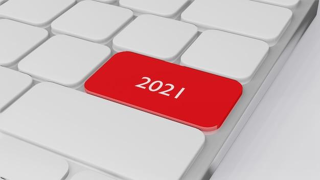 Computertoetsenbord met woord 2021, 3d-randering