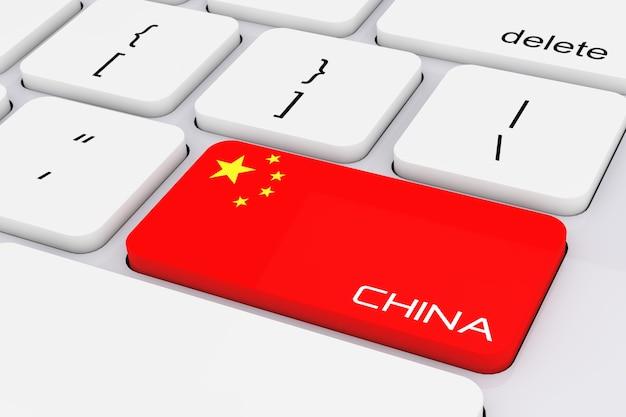 Computertoetsenbordtoets met china vlag en china ondertekenen extreme close-up. 3d-rendering.