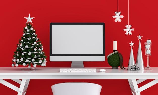 Computervertoning voor mockup, kerstmisconcept