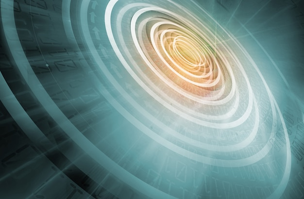 Concentrische cirkels die zich van de achtergrond van het centrum naar de randen van de technologie uitstrekken