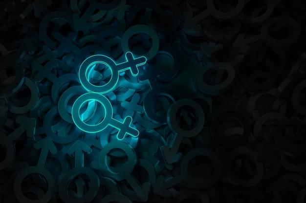 Concept art op het thema van 3d-illustratie van hetzelfde geslacht