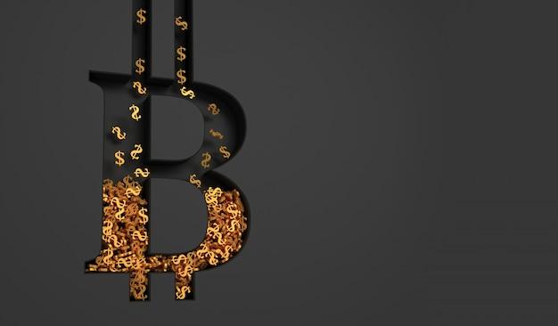 Concept art over het onderwerp bitcoins