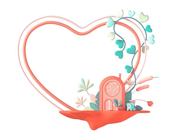 Concept art rond het thema valentijnsdag. een gestileerd tekenfilmhuis op een eiland met bloemen en een hartvormig frame. 3d illustratie