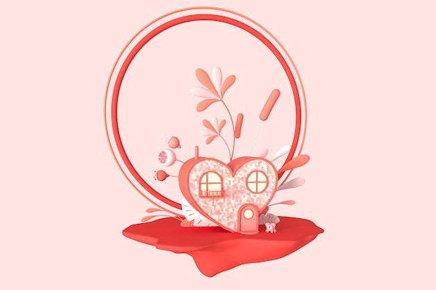 Concept art rond het thema valentijnsdag. gestileerd cartoonhuis in de vorm van een hart op een eiland met bloemen en een rond frame. 3d illustratie