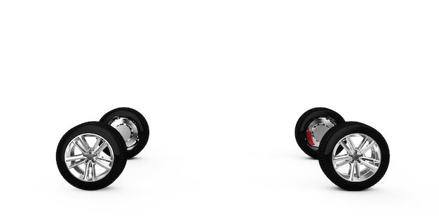 Concept auto geschilderd rood lichaam en gegronde delen in de buurt van geïsoleerd op witte achtergrond 3d render