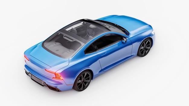 Concept auto sport premium coupe. blauwe auto op witte achtergrond. plug-in hybride. technologieën voor milieuvriendelijk vervoer. 3d-rendering.