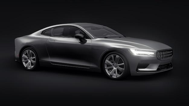 Concept auto sport premium coupe. grijze auto op zwarte achtergrond. plug-in hybride. technologieën voor milieuvriendelijk vervoer. 3d-rendering.