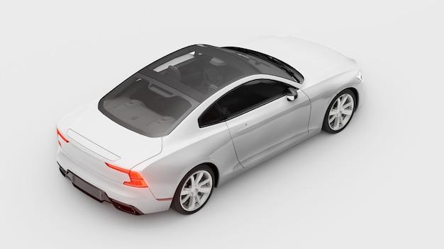 Concept auto sport premium coupe. plug-in hybride. technologieën voor milieuvriendelijk vervoer. witte auto op witte achtergrond. 3d-rendering.