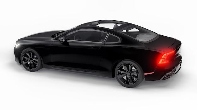 Concept auto sport premium coupe. plug-in hybride. technologieën voor milieuvriendelijk vervoer. zwarte auto op witte achtergrond. 3d-rendering.
