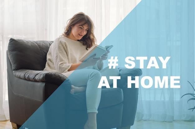 Concept blijf thuis sociale mediacampagne voor coronaviruspreventie