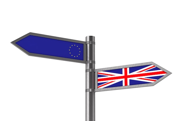 Concept brexit op witte ruimte