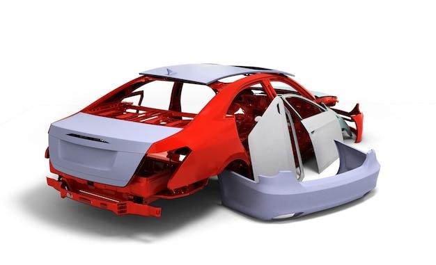 Concept car geschilderd rode carrosserie en geprimede onderdelen in de buurt van geïsoleerd op witte achtergrond 3d illustratie