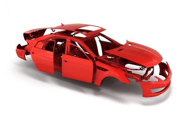 Concept car rood geschilderd carrosserie en geprimede onderdelen in de buurt van geïsoleerd op witte achtergrond 3d render