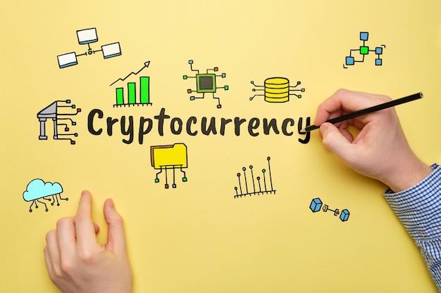 Concept cryptocurrency in zaken met abstracte pictogrammen.