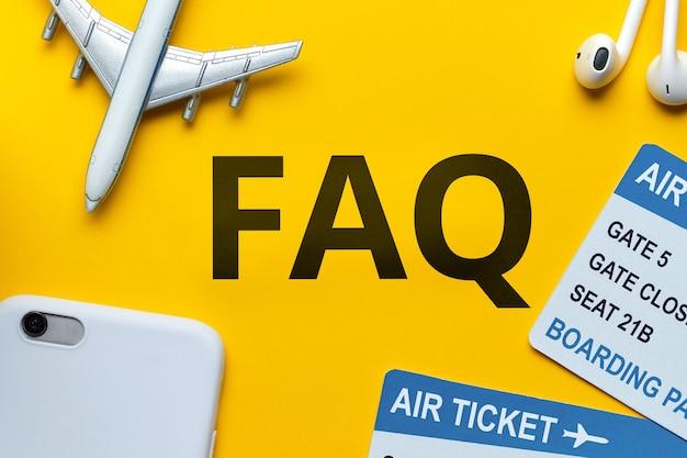 Concept faq over de belangrijkste kwesties op het gebied van reizen.