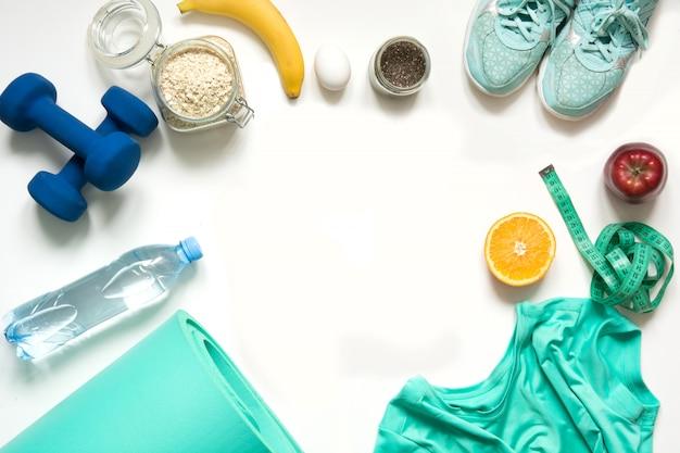 Concept fitness en gezonde goede voeding.