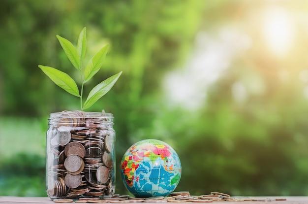 Concept geld met plant groeit op munt in pot en globe speelgoed