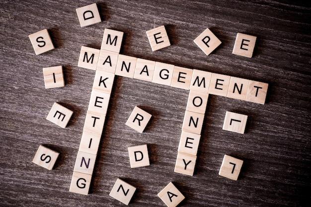 Concept gepresenteerd door kruiswoordraadsel met woorden marketing, management en geld