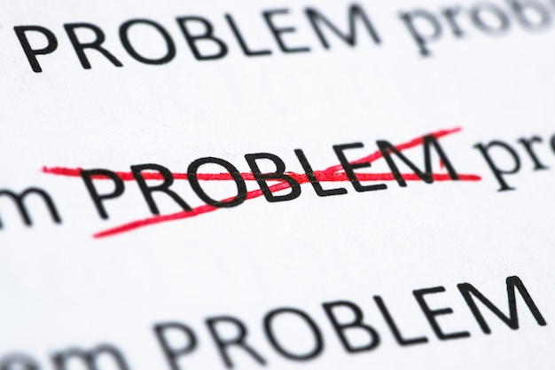 Concept het oplossen van een van de problemen. het woord