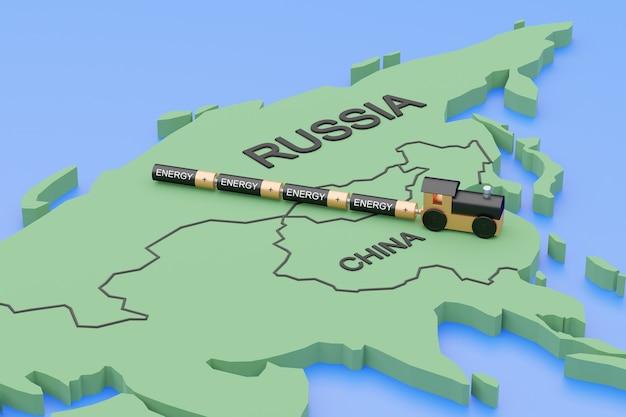 Concept internationale energievoorziening. een trein met batterijen op een kaart reist van rusland naar china. 3d render.