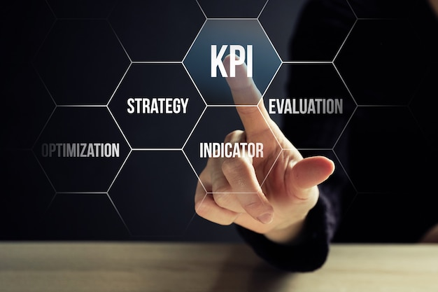 Concept kpi of key performance indicators controle van het werkniveau van medewerkers.