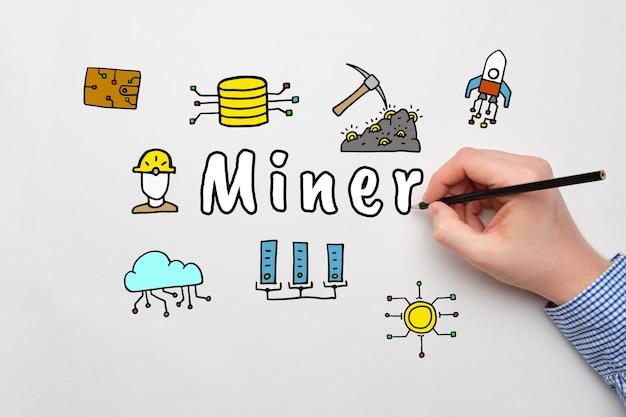 Concept mijnwerker verdienen op cryptocurrency met abstracte pictogrammen.
