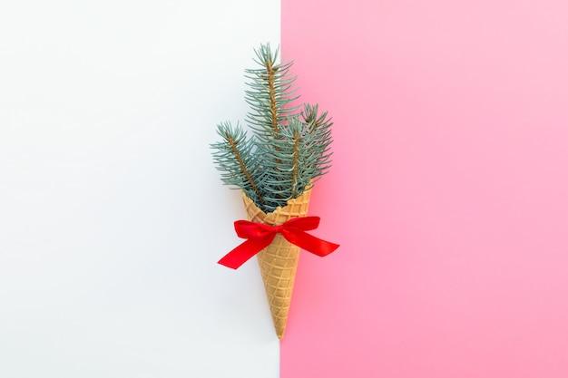 Concept minimalistische kerst winter wenskaart