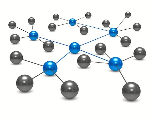 Concept netwerk op witte achtergrond. geïsoleerde 3d illustratie