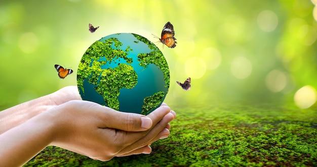 Concept save the world save environment de wereld bevindt zich in het gras van de groene bokeh-achtergrond