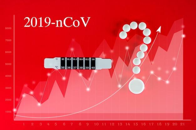 Concept van de uitbraak van het coronavirus. grafiek die het aantal covid-19-gevallen over de hele wereld symboliseert. verspreiding van het coronavirus. thermometer en witte pillen in de vorm van een vraagteken op een rode achtergrond.