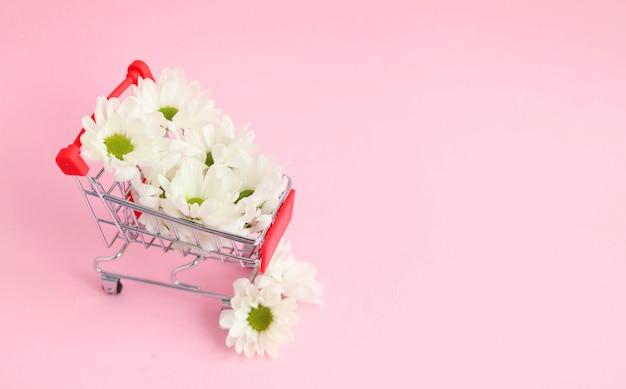 Concept van de vroege lente, witte bloemen in een trolley voor de supermarkt
