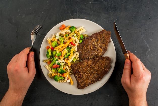 Concept van dieet, mijn bord